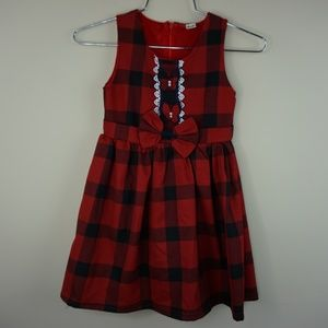 Girls kids Red checkered Christmas Holiday Dress
